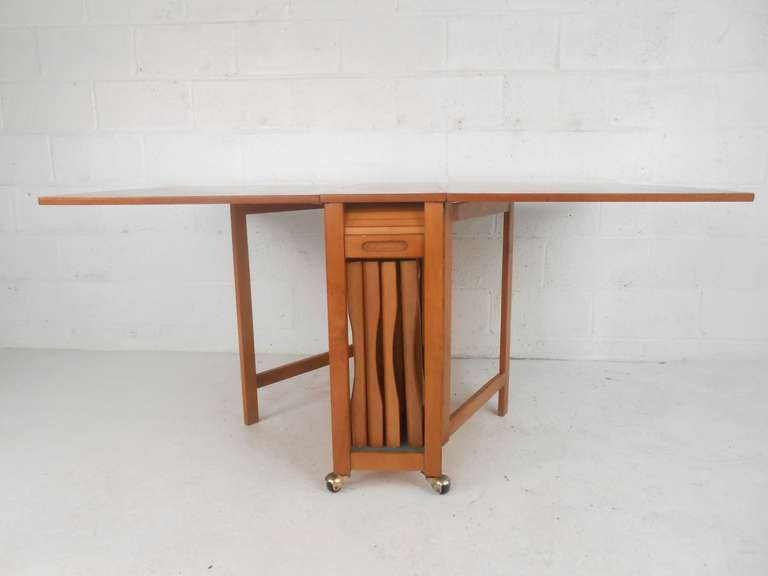 Danish Mid Century Modern Drop Leaf Table And Chairs Set
