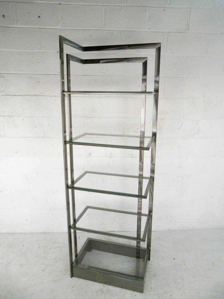 Mid-Century Modern Vintage Modern Stainless Steel and Glass Bookshelf Etagere For Sale
