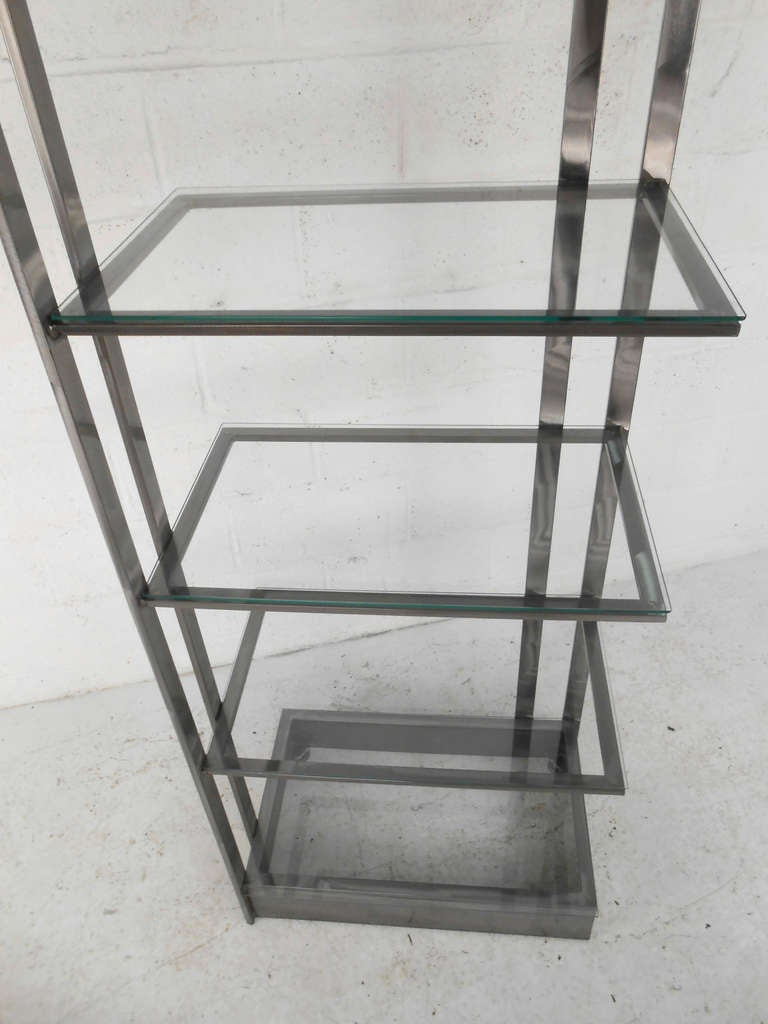 20th Century Vintage Modern Stainless Steel and Glass Bookshelf Etagere For Sale