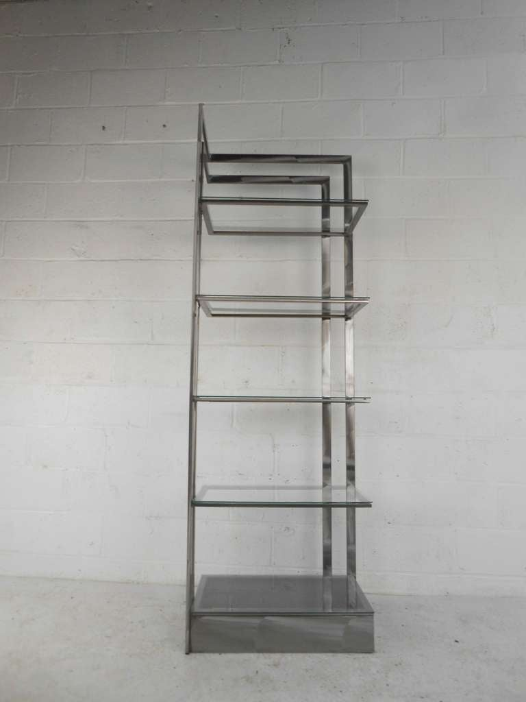 Vintage Modern Stainless Steel and Glass Bookshelf Etagere In Good Condition For Sale In Brooklyn, NY