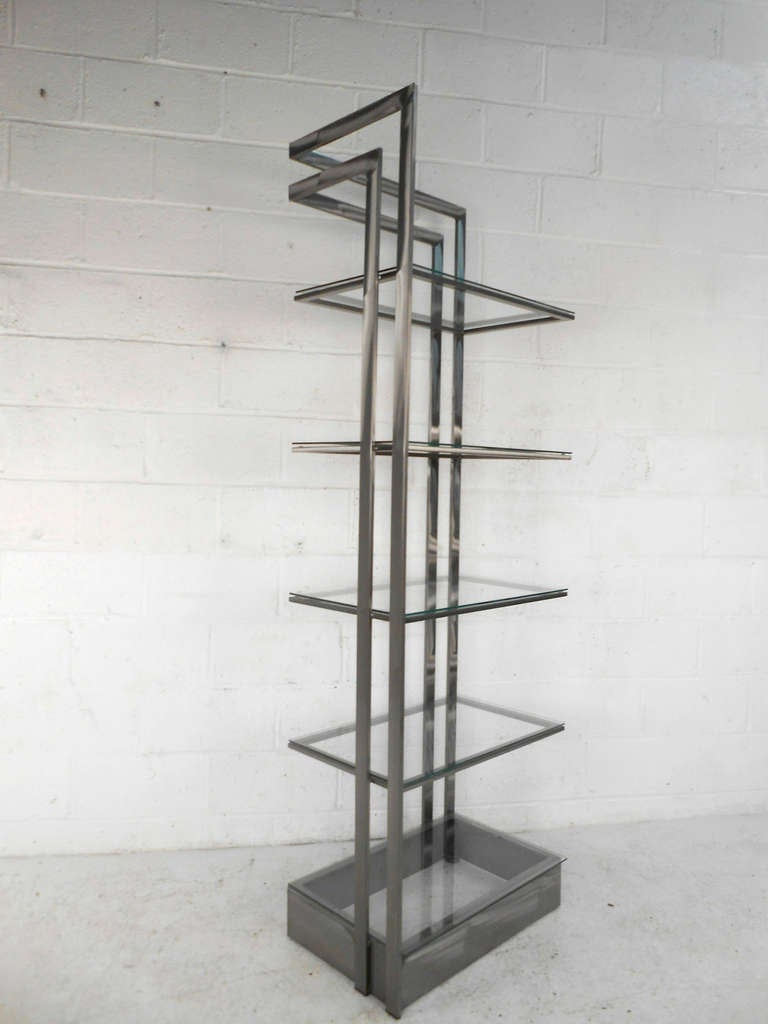Italian Vintage Modern Stainless Steel and Glass Bookshelf Etagere For Sale