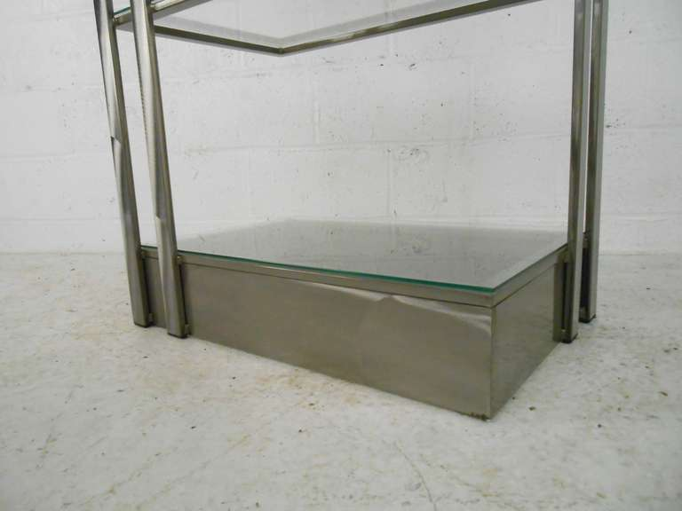 Vintage Modern Stainless Steel and Glass Bookshelf Etagere For Sale 1