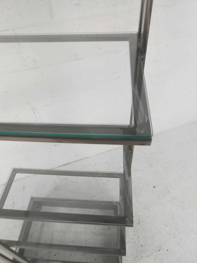 Vintage Modern Stainless Steel and Glass Bookshelf Etagere For Sale 2