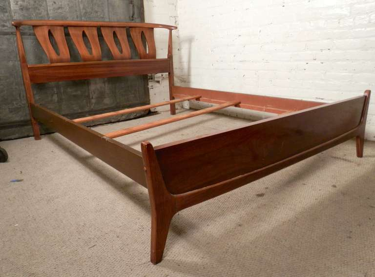 Sculpted MidCentury Modern Bed Frame By Kent Coffey at 1stdibs