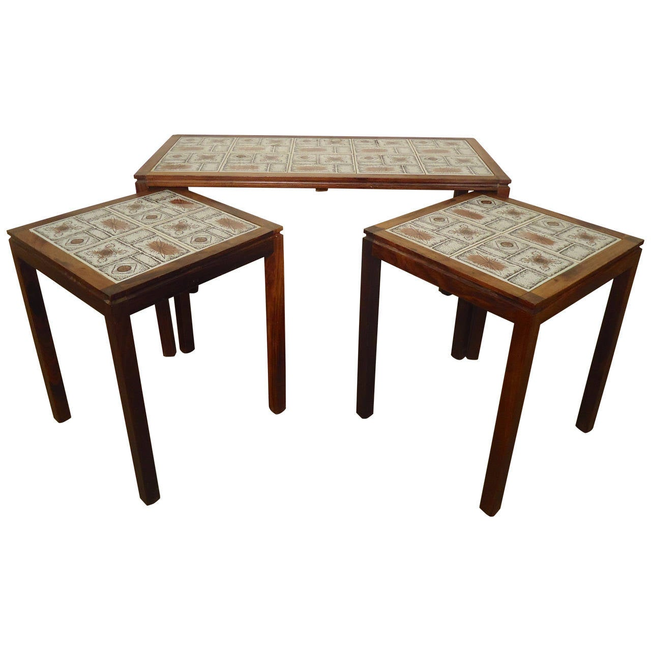 Tile Coffee Table Set: Midcentury Tile-Top Table Set At 1stdibs
