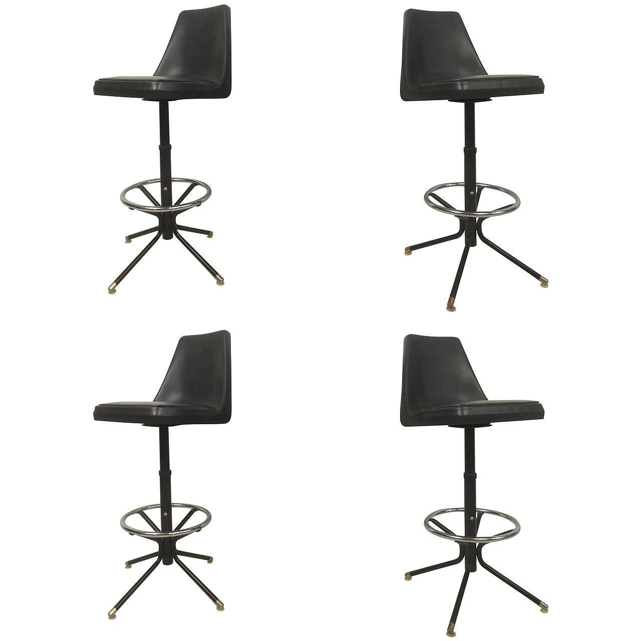 Set of Four Vintage Modern Barstools