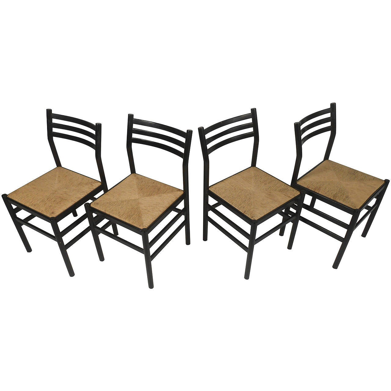 Set of Four Rush Seat Chairs 1