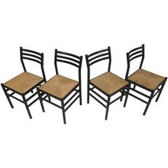 Vintage Lacquer and Rush Seat Dining Chairs