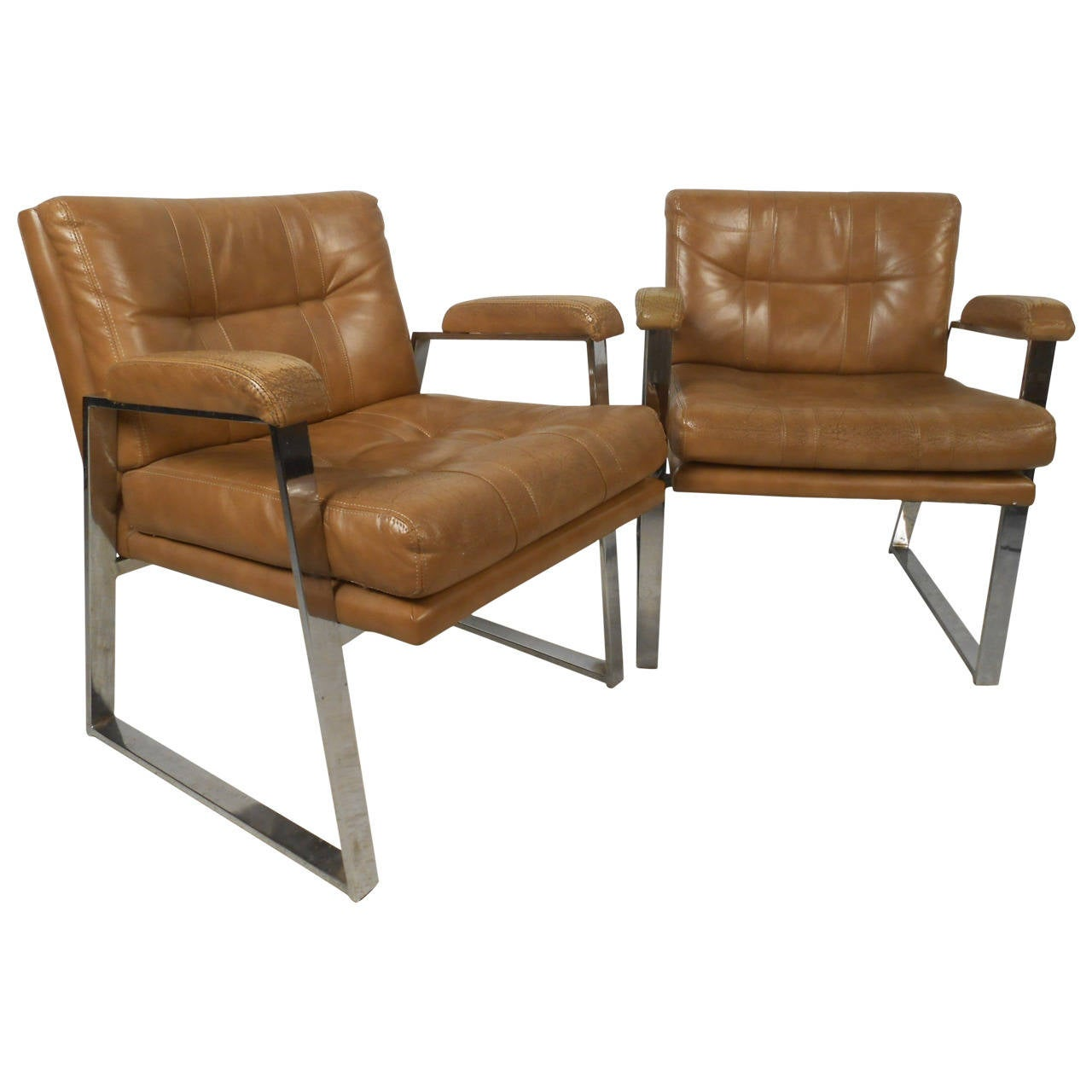 Pair of Midcentury Chrome Side Chairs after Milo Baughman