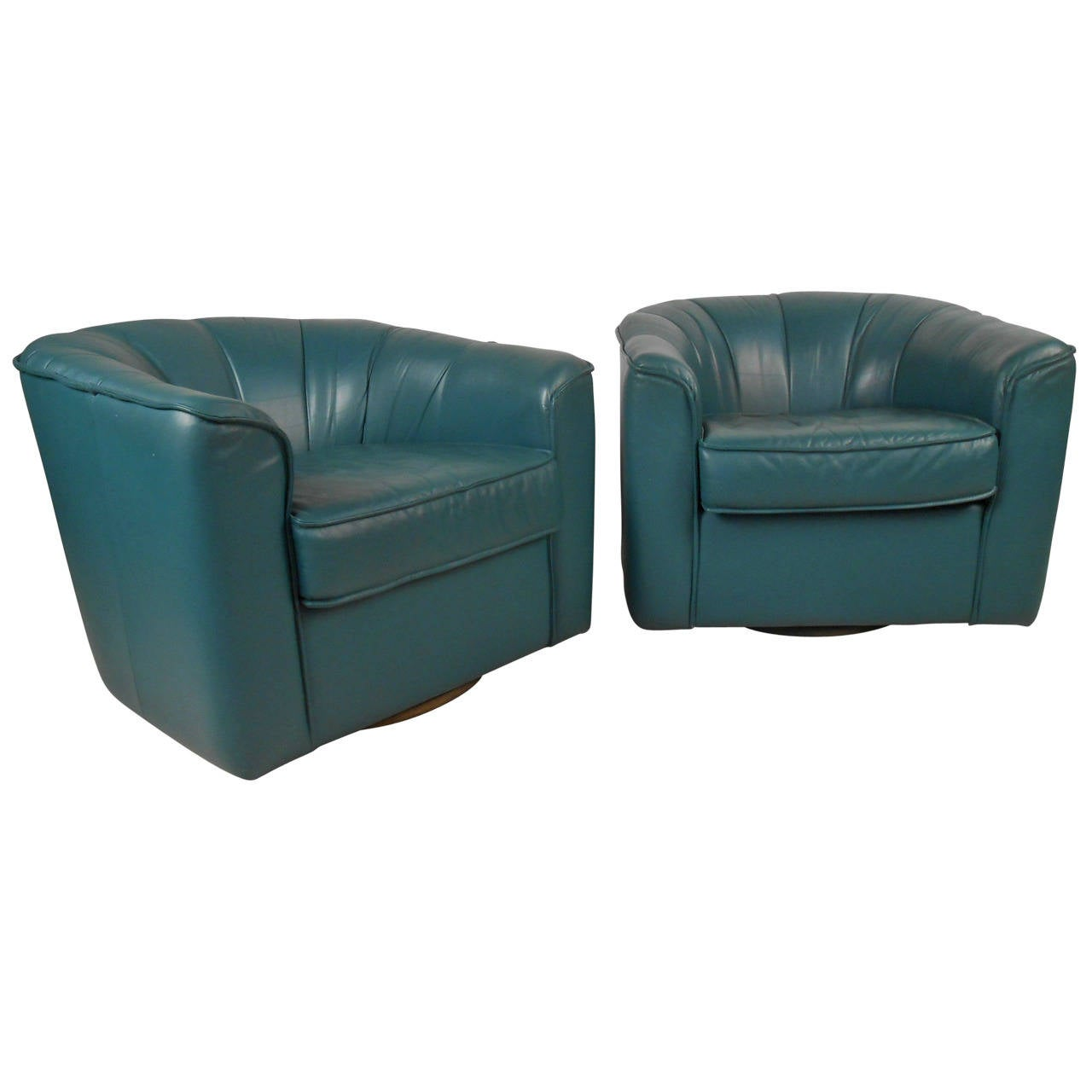 Pair Contemporary Modern Swivel Club Chairs For Sale At