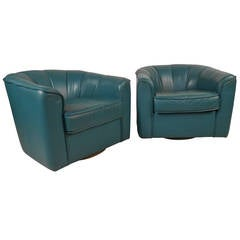 Pair of Contemporary Modern Swivel Club Chairs
