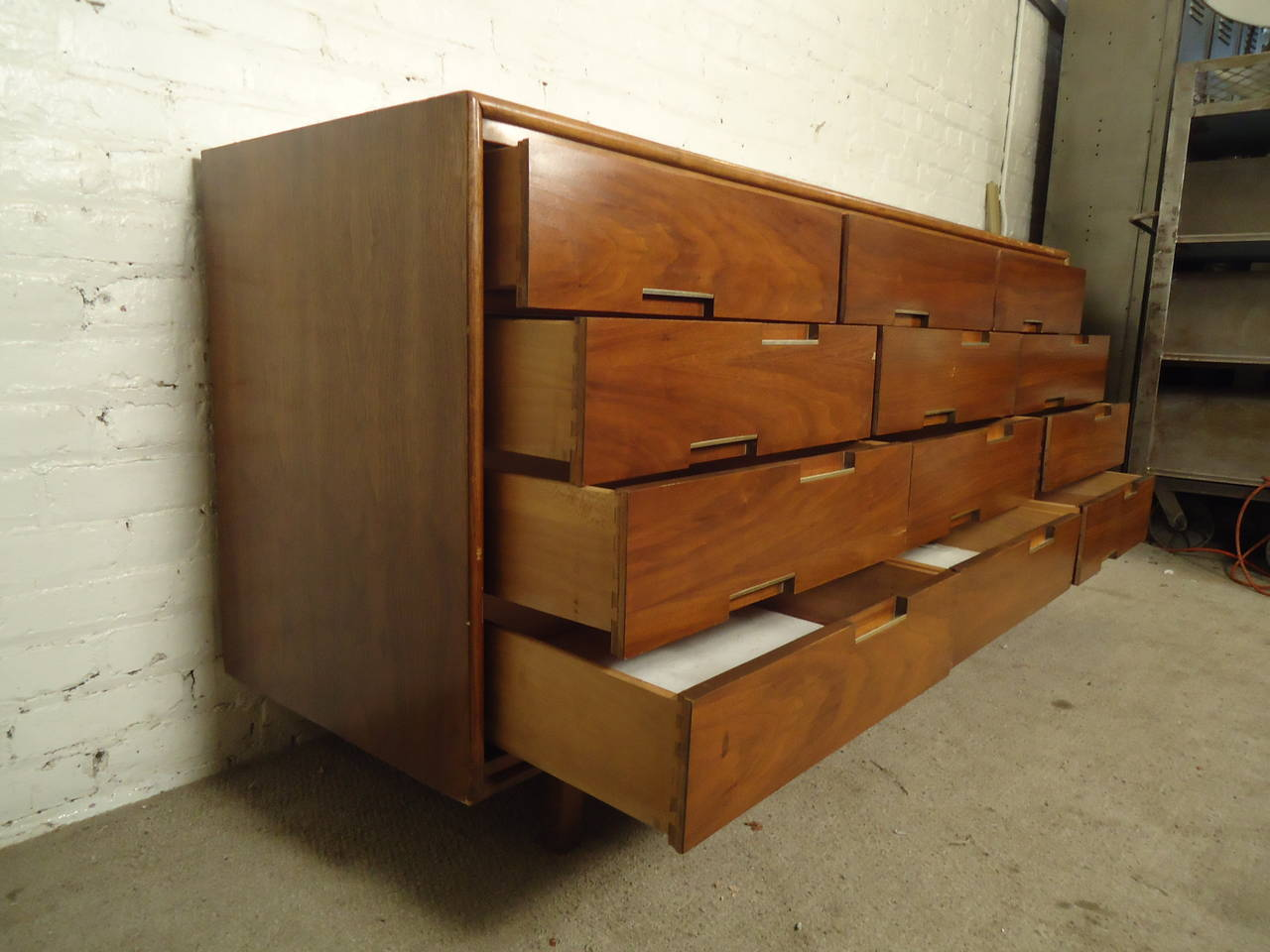 Midcentury Credenza by Cavalier with Hidden Drawers For Sale 1