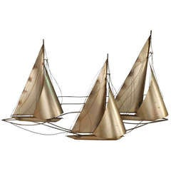 Signed C. Jere Sailboats Sculpture
