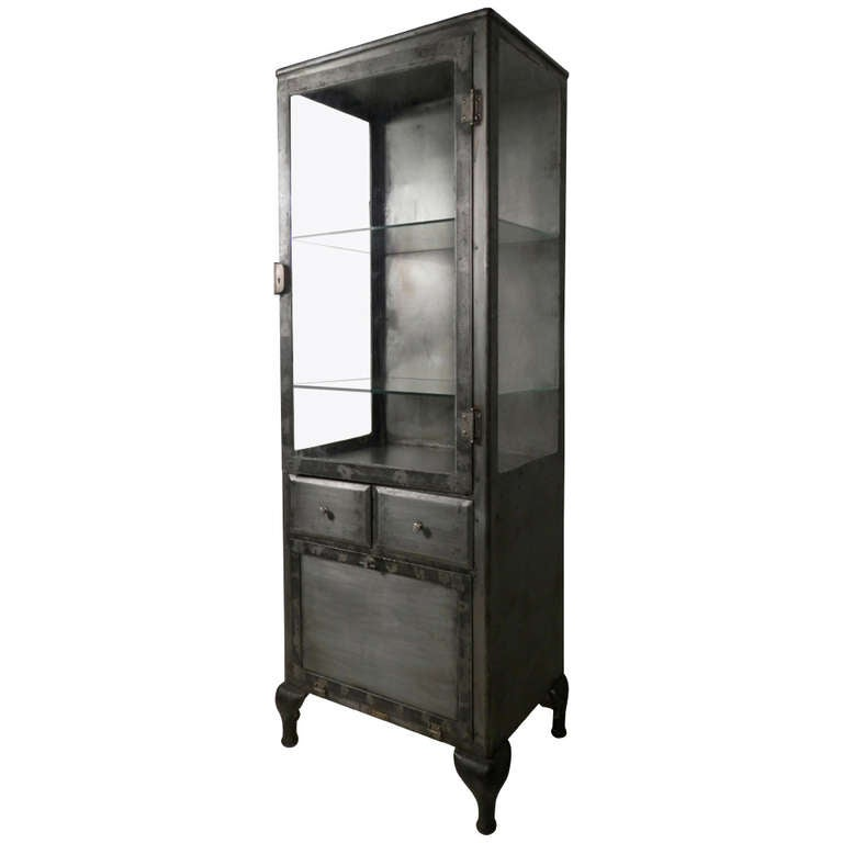 Tall Glass Front Metal Display Cabinet At 1stdibs