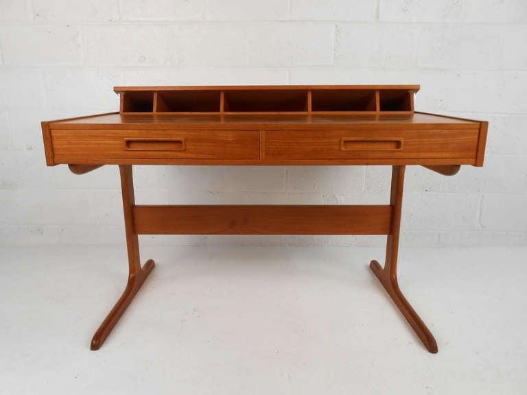 Mid Century Danish Modern Teak Pop Up Desk At 1stdibs
