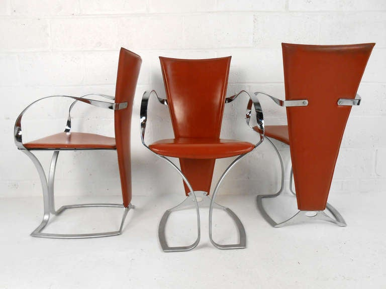 American Set of Sculptural Italian Modern Dining Chairs For Sale