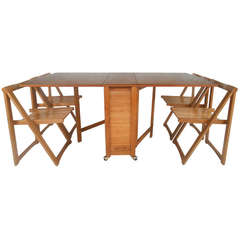 Mid-Century Modern Drop Leaf Table and Chairs Set