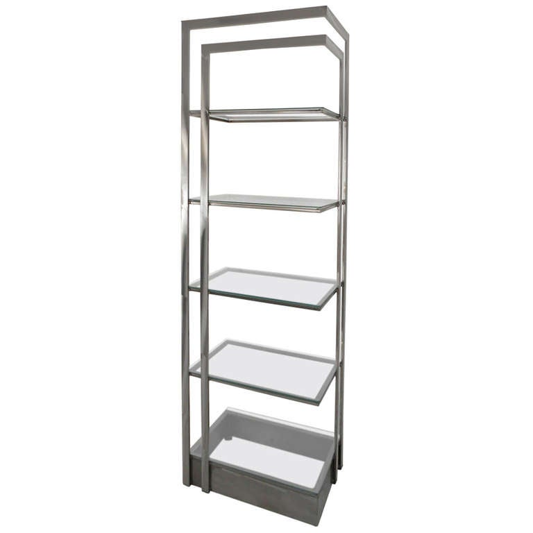 Vintage Modern Stainless Steel and Glass Bookshelf Etagere For Sale