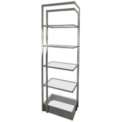 Vintage Modern Stainless Steel and Glass Bookshelf Etagere