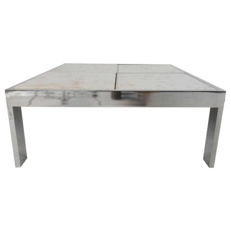 Mid Century Modern Marble Table: Pace Collection Mid-Century Modern Chrome And Marble