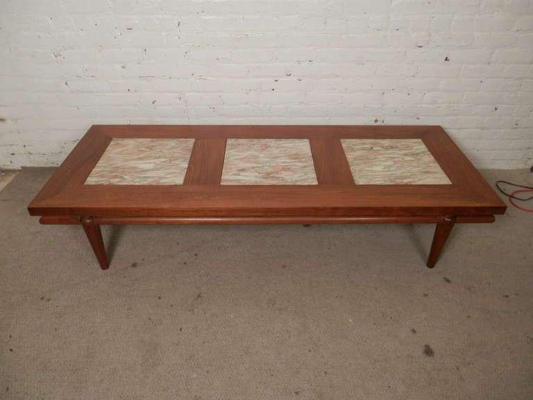 Rare Mid Century Modern Coffee Table With Marble Inserts By John Widdicomb For Sale At 1stdibs