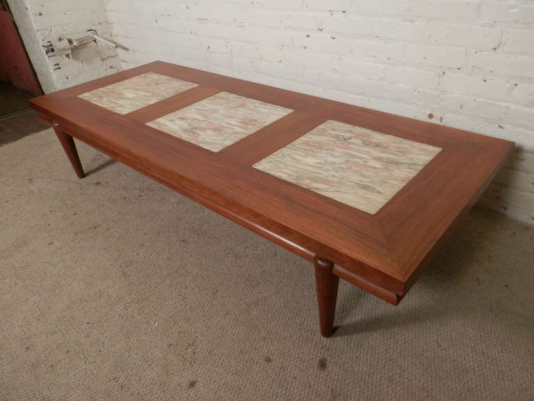 American Rare Mid Century Modern Coffee Table With Marble Inserts By John  Widdicomb For Sale