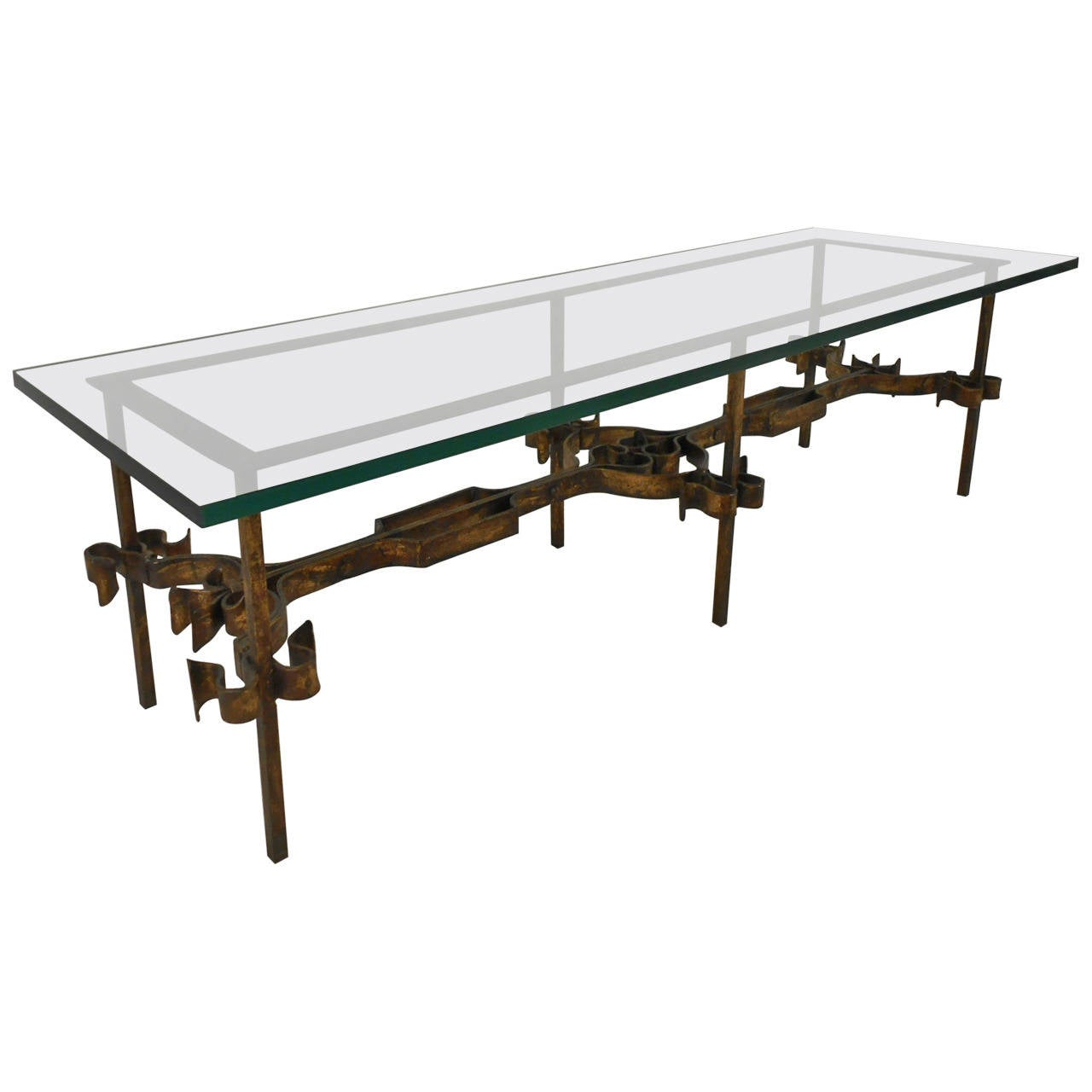 Decorative Iron And Glass Coffee Table For Sale At 1stdibs