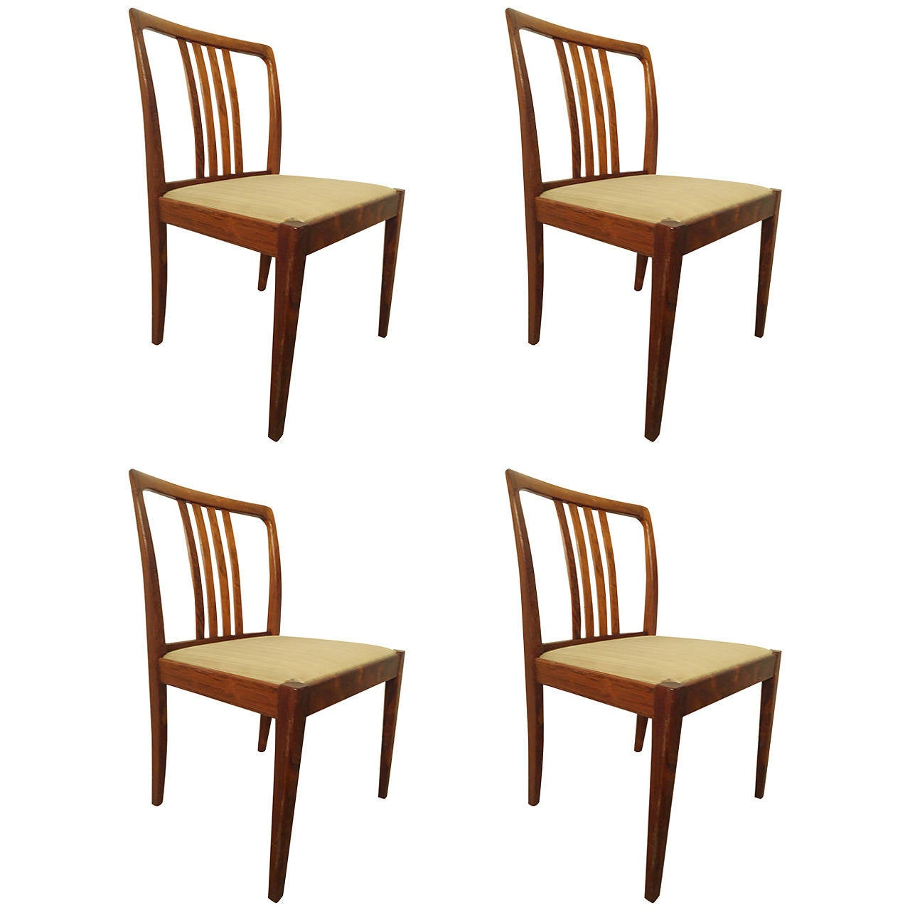 Rich Rosewood Dining Chairs, Set of Four