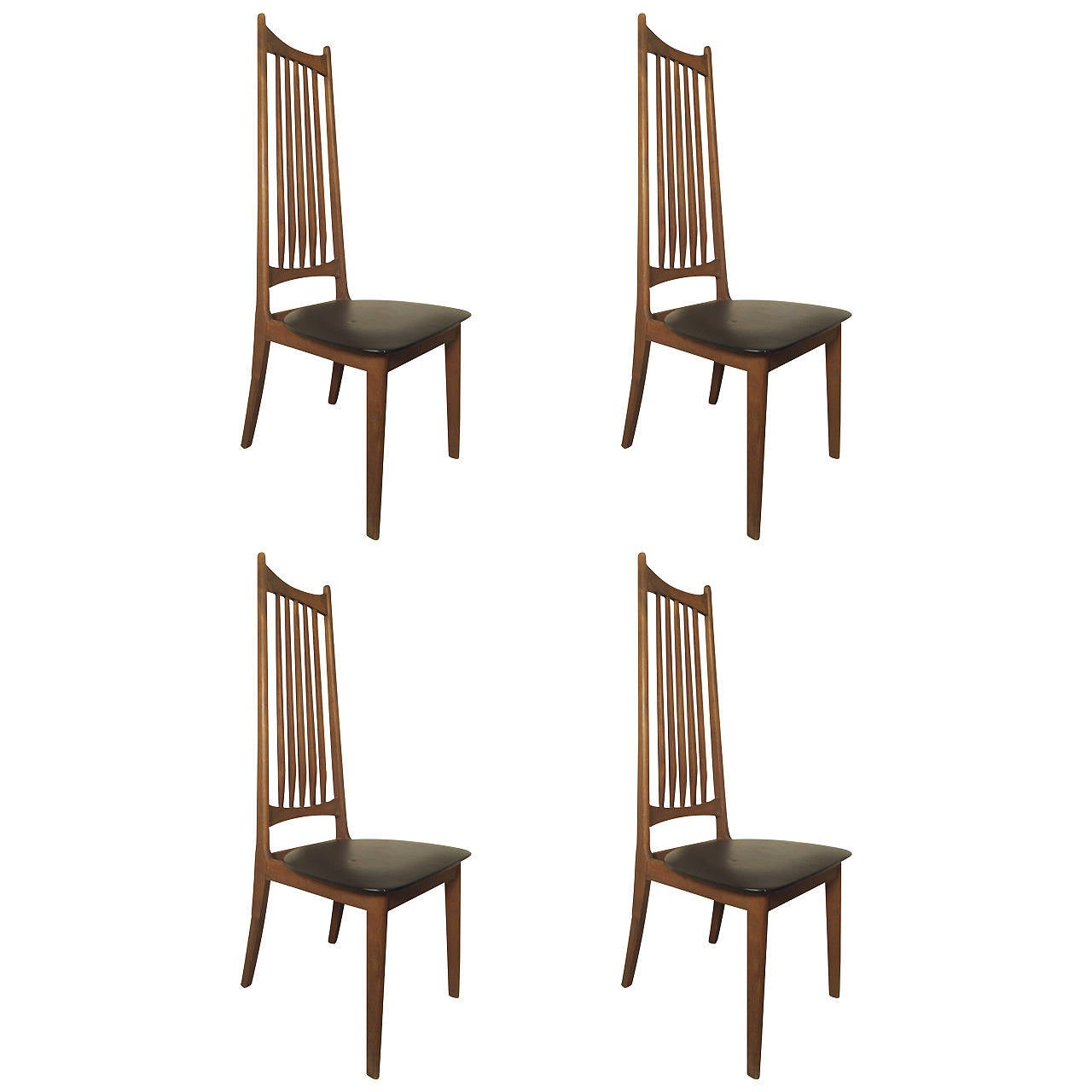 Four Midcentury High Back Chairs For Sale