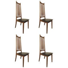 Four Midcentury High Back Chairs