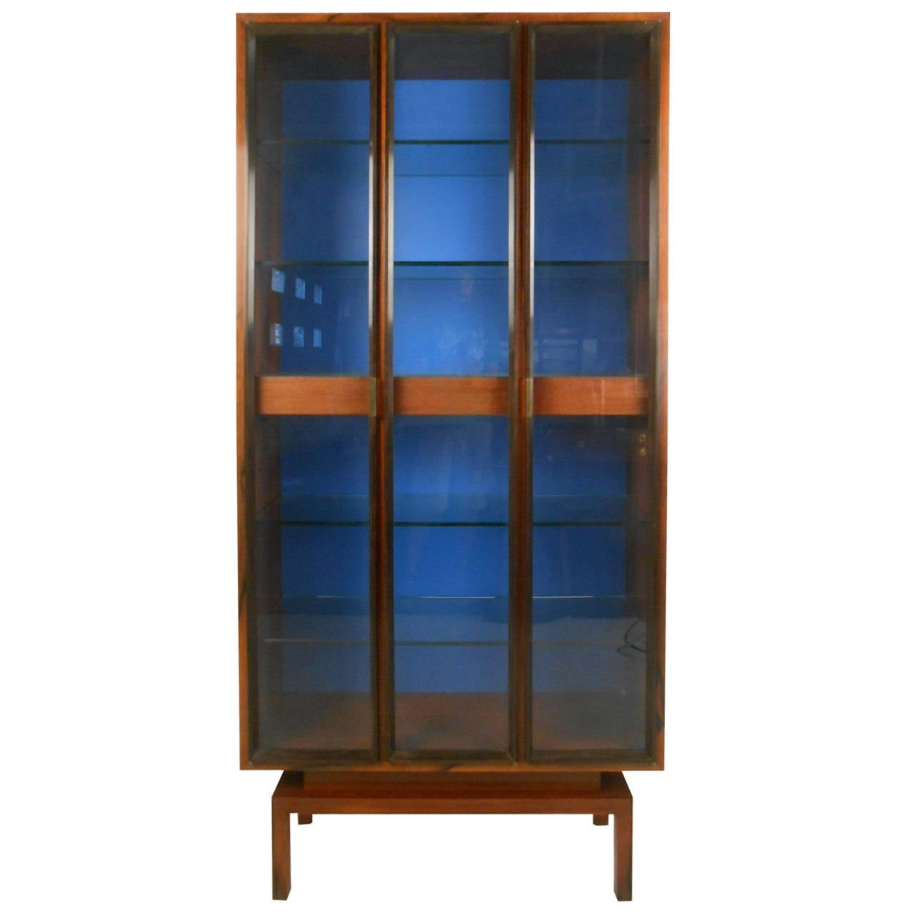 Custom Mid Century Modern Rosewood Display Cabinet By