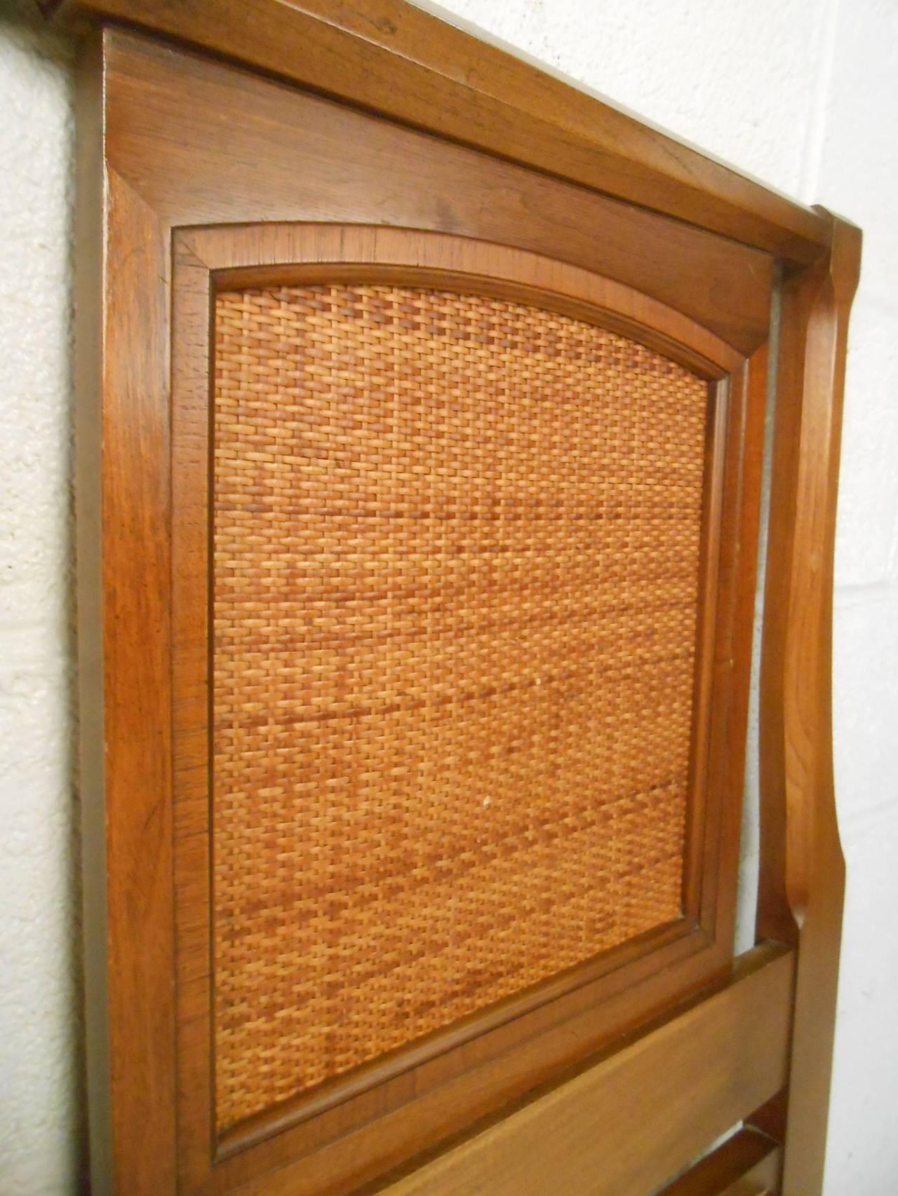Wicker Mid-Century Modern Walnut Headboard by White Furniture Co For Sale
