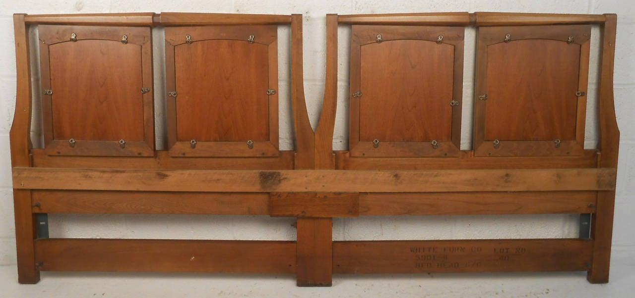 Mid-Century Modern Walnut Headboard by White Furniture Co For Sale 1
