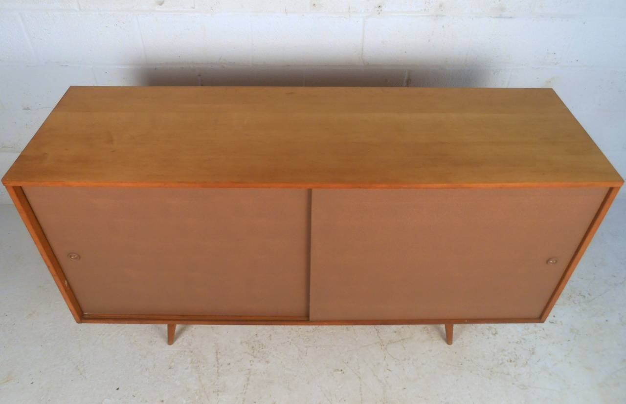Midcentury Paul McCobb Sliding Door Sideboard In Good Condition For Sale In Brooklyn, NY
