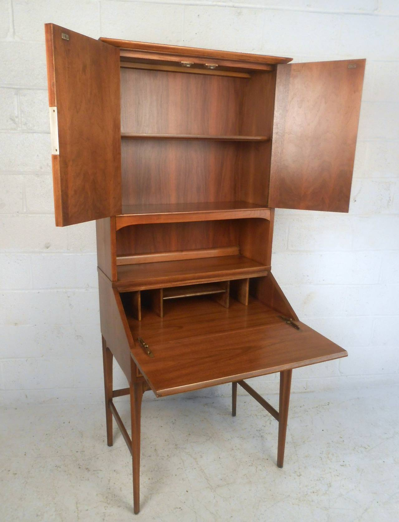 Mid century modern drexel style secretary hutch for sale at 1stdibs - Modern secretary desk with hutch ...