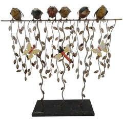 """Vintage Metal Sculpture """"Birds & Butterflies"""""""