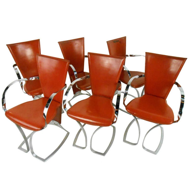 Set of Sculptural Italian Modern Dining Chairs