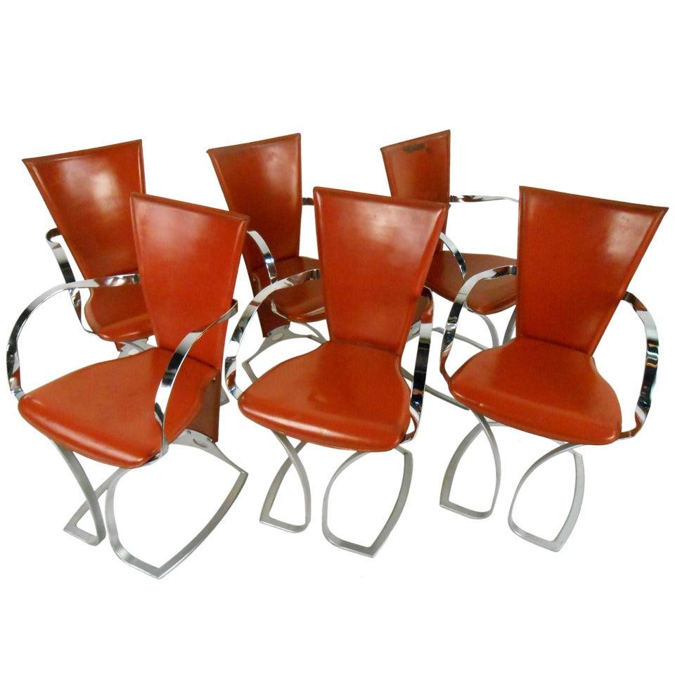 Set of Sculptural Italian Modern Dining Chairs