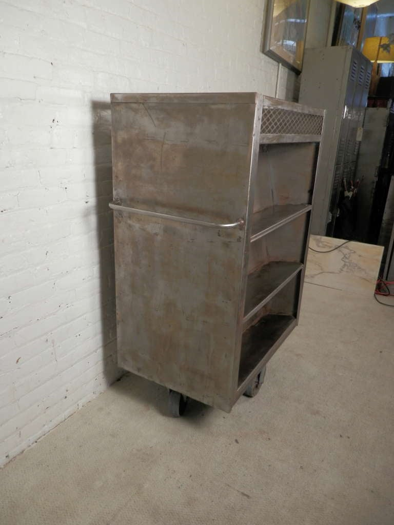 Large Industrial Metal Rolling Cart For Sale At 1stdibs