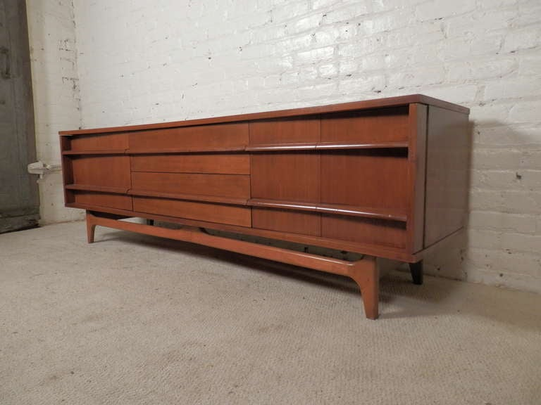 Mid Century Modern Credenza w Dramatic Curved Front at