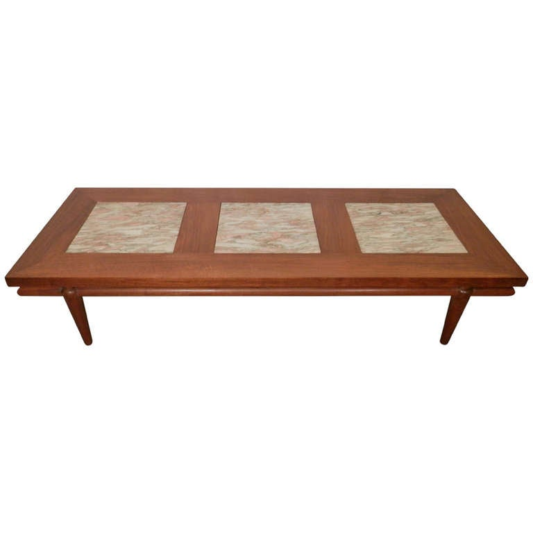 Rare Mid Century Modern Coffee Table With Marble Inserts By John Widdicomb  For Sale