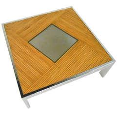 Boho Modern Bamboo and Chrome Cocktail Table