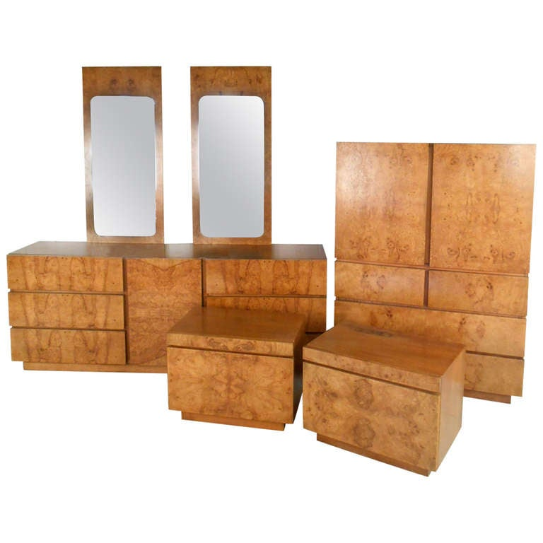 Stunning Mid Century Burl Wood Bedroom Set By Milo