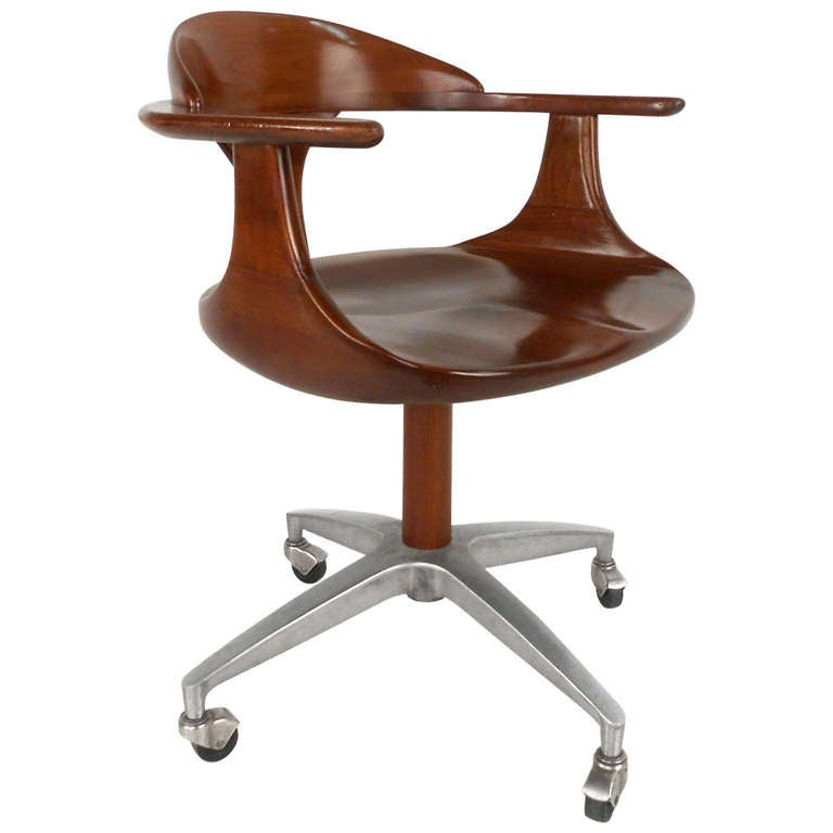 Heywood Wakefield Cherry Wood Desk Chair For Sale