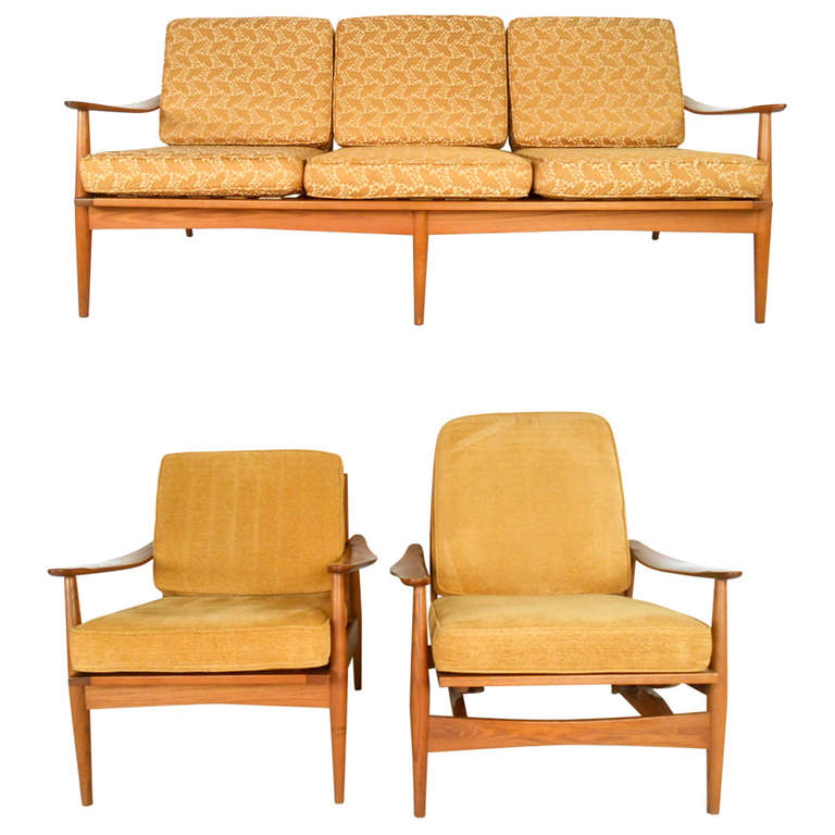 Three piece mid century modern living room set for sale at for 8 piece living room furniture set