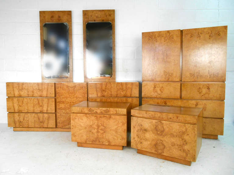 Stunning Mid Century Burl Wood Bedroom Set by Lane Furniture 3. Stunning Mid Century Burl Wood Bedroom Set by Lane Furniture For