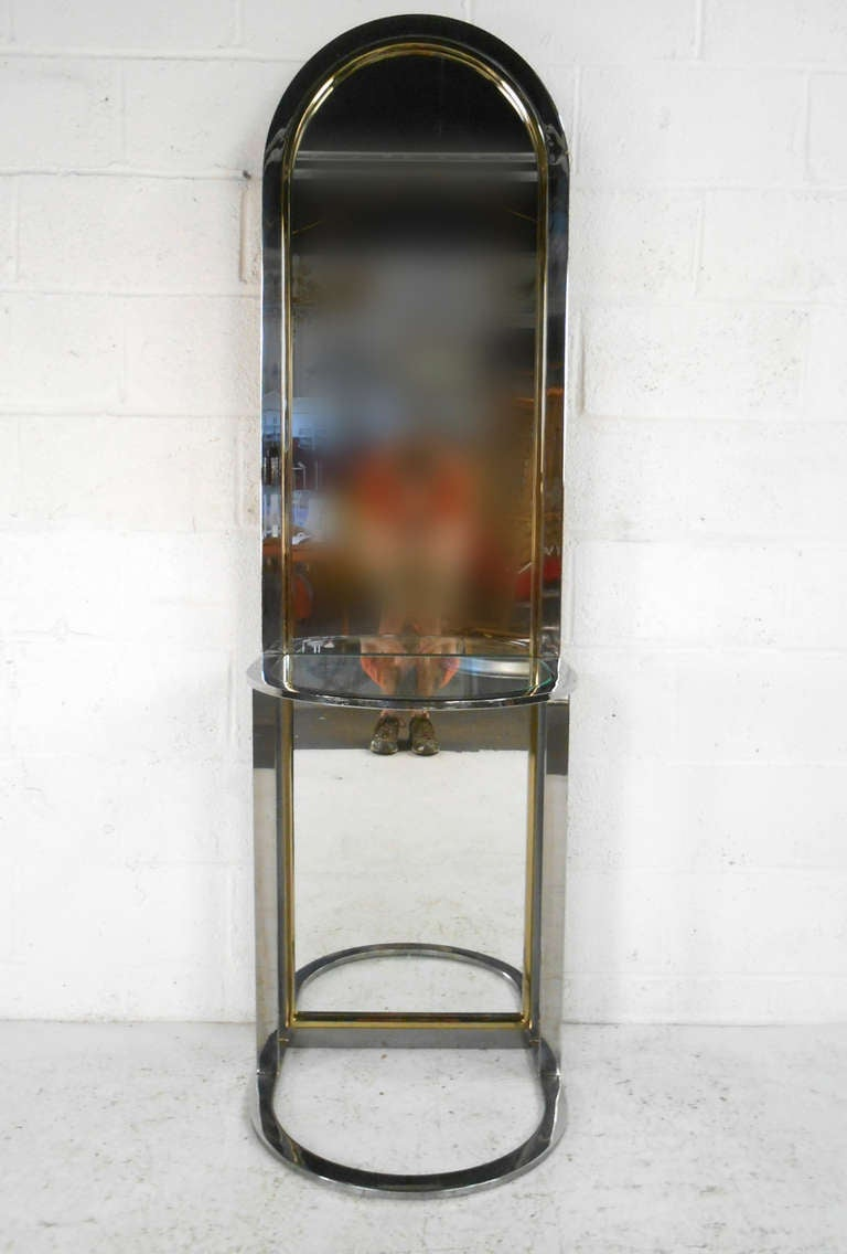 Pace collection chrome and brass mid century modern full Modern full length mirror