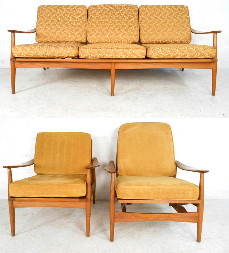 three piece mid century modern living room set for sale at