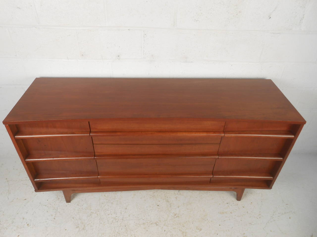 Mid Century Modern Kagan Style Curved Front Credenza For