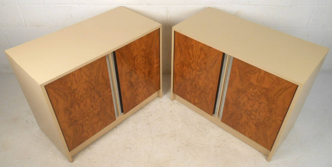 Mid-Century Modern Pair Vintage Burl Front Cabinets For Sale